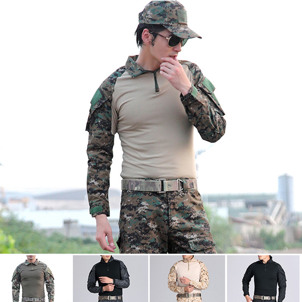 Camouflage-T-Shirt-Men-Long-Sleeve-Hunt-Outdoor-T-Shirt thumbnail 1