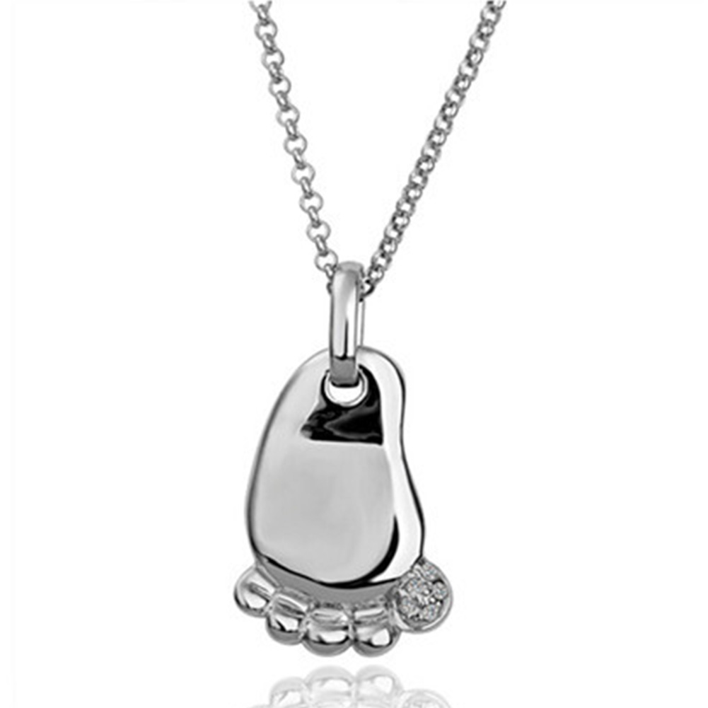 Fashion Baby Foot Pendant Crystal Necklace Christening Xmas Mother's Day Gifts