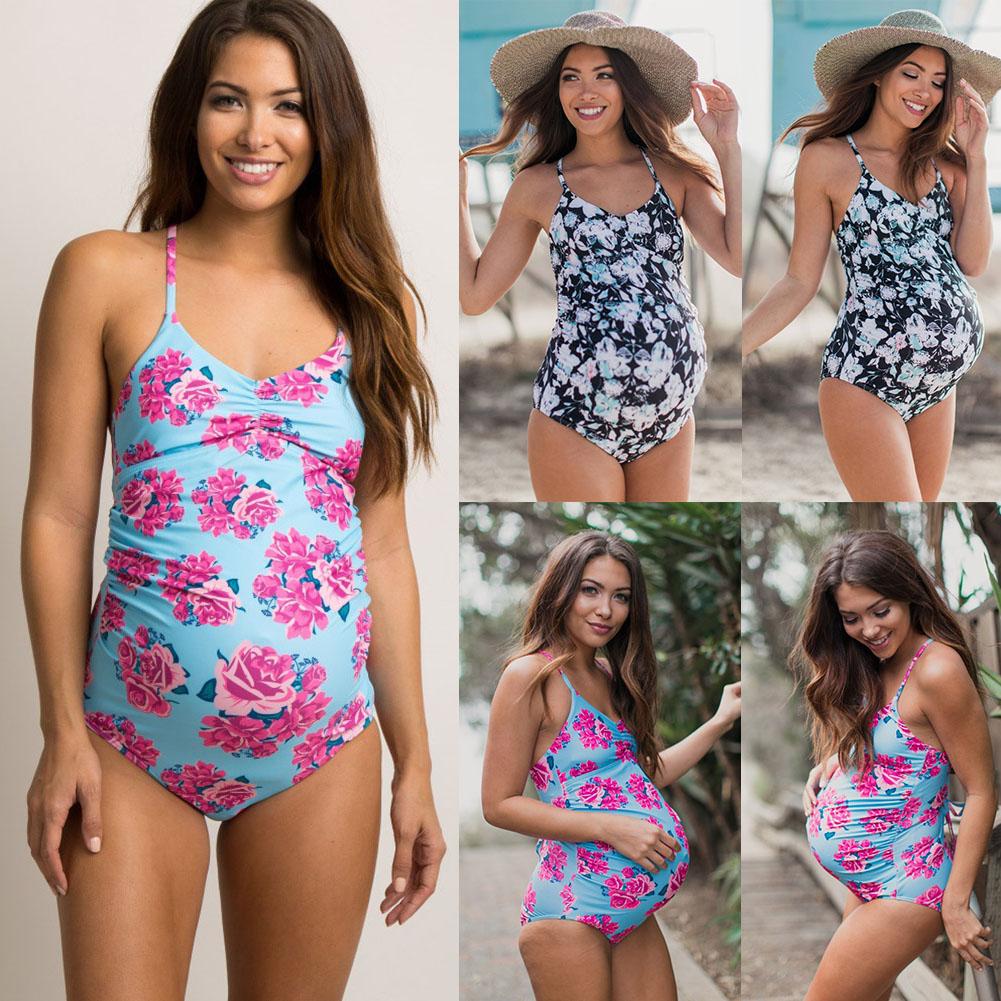 Swimsuit-Women-Swimwear-Fold-Edge-Pregnant-Lady-Cross-Back-Strap-Floral-Print thumbnail 4