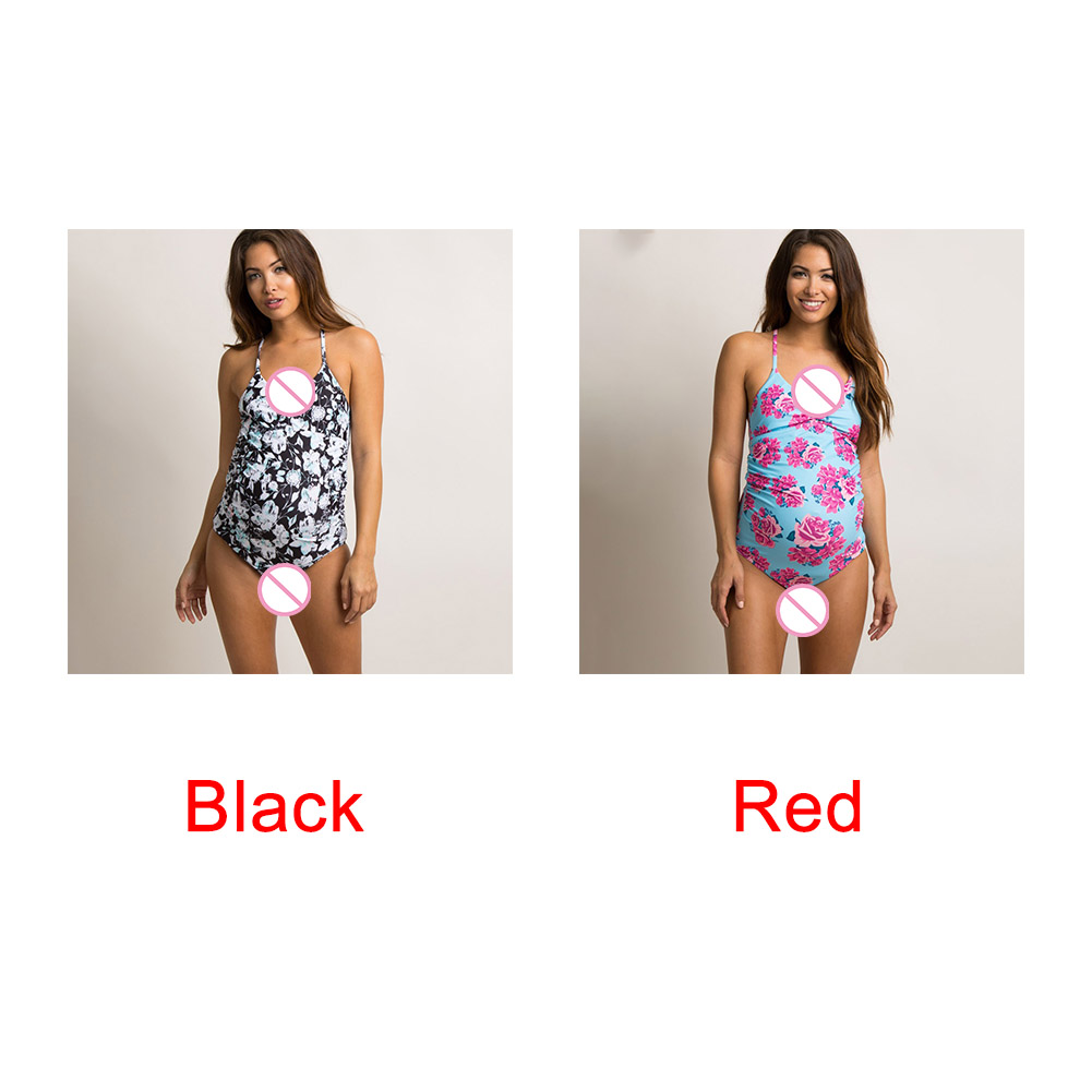 Swimsuit-Women-Swimwear-Fold-Edge-Pregnant-Lady-Cross-Back-Strap-Floral-Print thumbnail 7