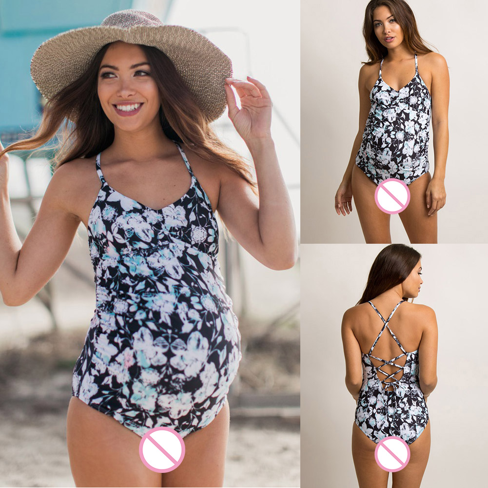 Swimsuit-Women-Swimwear-Fold-Edge-Pregnant-Lady-Cross-Back-Strap-Floral-Print thumbnail 2