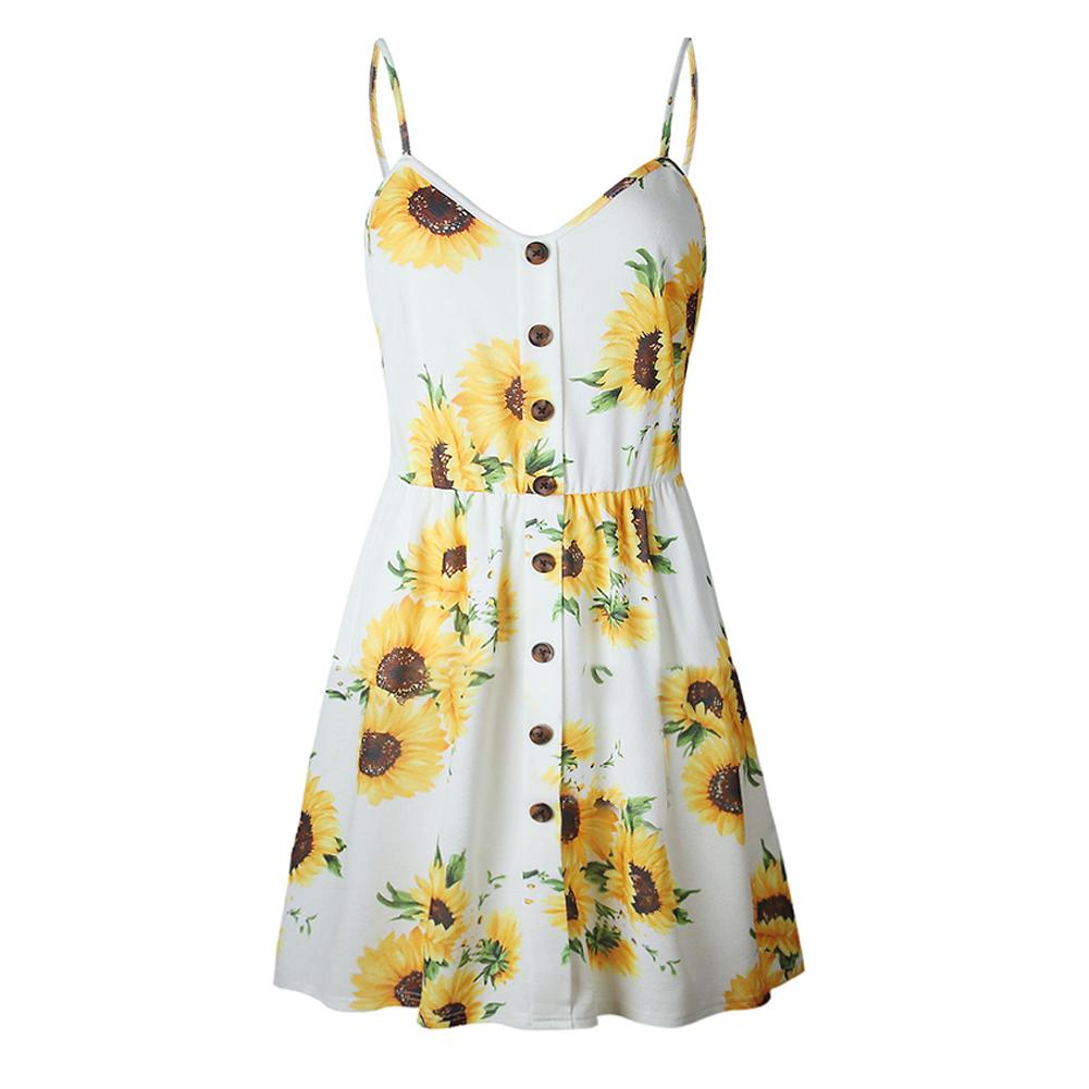 Womens-Holiday-Strappy-Button-Short-Sundress-Summer-Beach-Mini-Beach-Dress