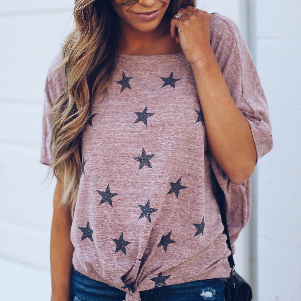 Womens-Summer-Star-Short-Sleeve-Casual-T-Shirt-Tops-Blouse-Ladies-Loose-Tee