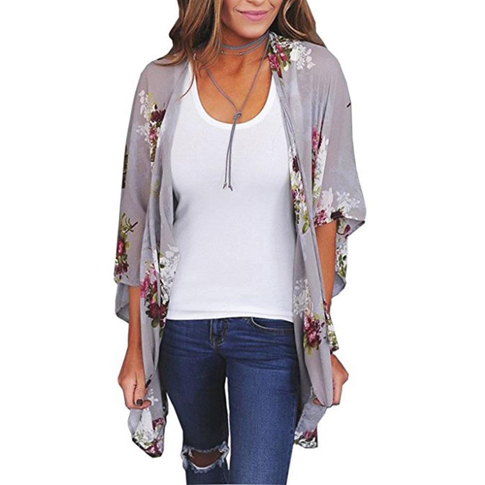 Women-Boho-Floral-Chiffon-Beach-Kimono-Cardigan-Long-Cover-Up-Jacket-Coat-AU