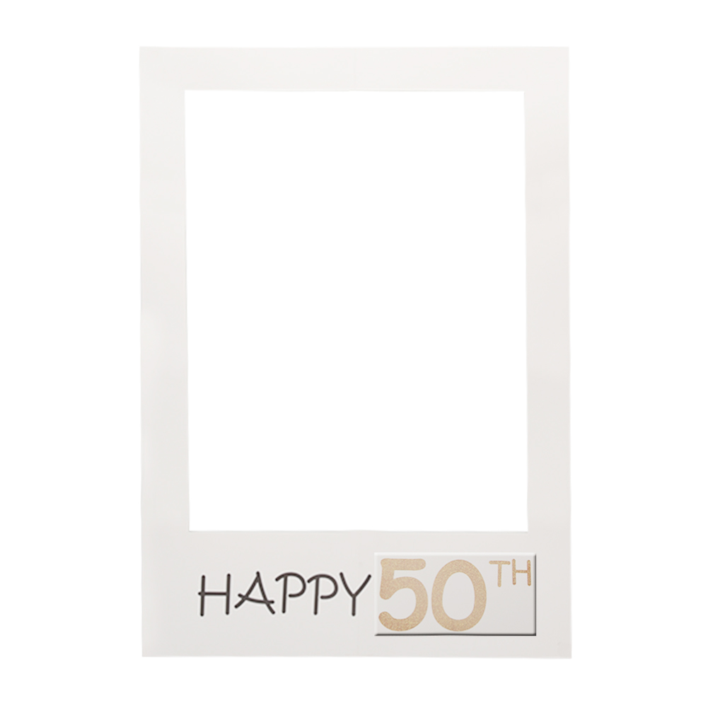 1-60th-Happy-Birthday-Party-White-Paper-Frame-Anniversary-Photo-Booth-Props-Fun