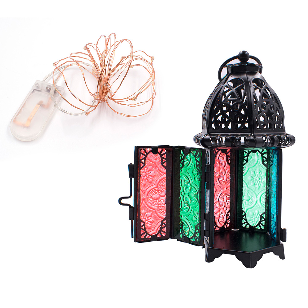 Glass-Metal-Moroccan-Delight-Garden-Candle-Holder-Table-hanging-Lantern-Lamp-AU thumbnail 16