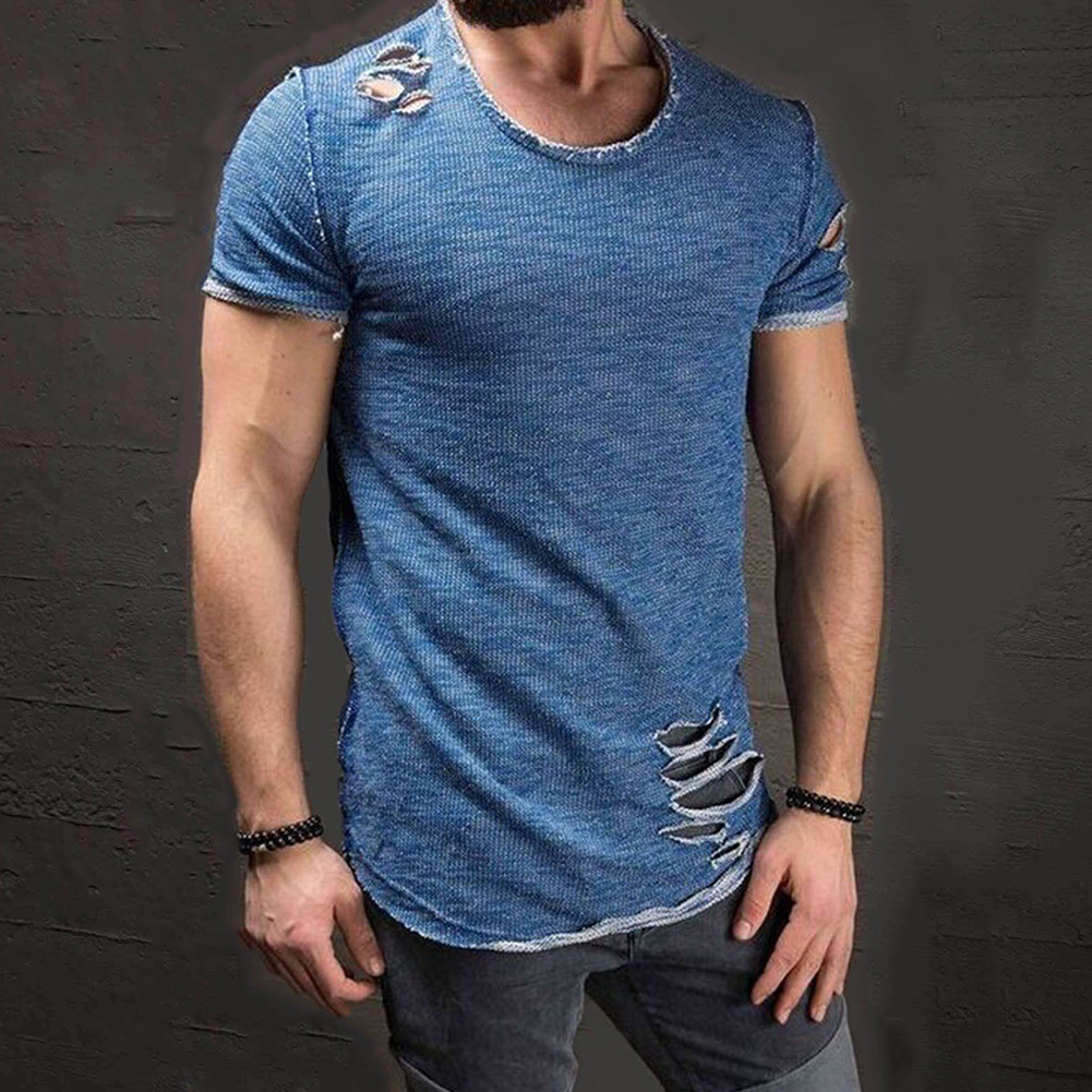 Men-039-s-Slim-Fit-O-Neck-Short-Sleeve-Muscle-Tee-T-shirt-Ripped-Casual-Tops-Blouse thumbnail 16