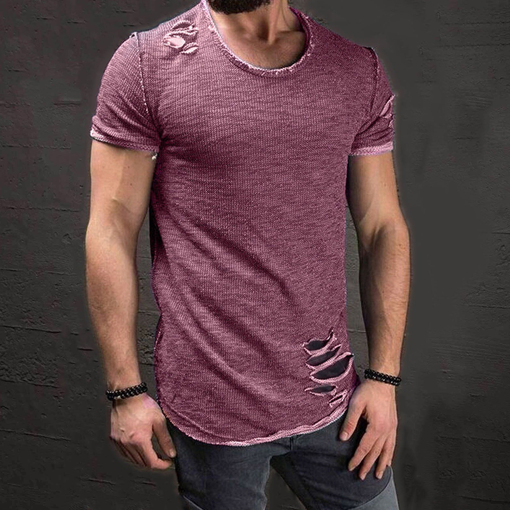 Men-039-s-Slim-Fit-O-Neck-Short-Sleeve-Muscle-Tee-T-shirt-Ripped-Casual-Tops-Blouse thumbnail 17