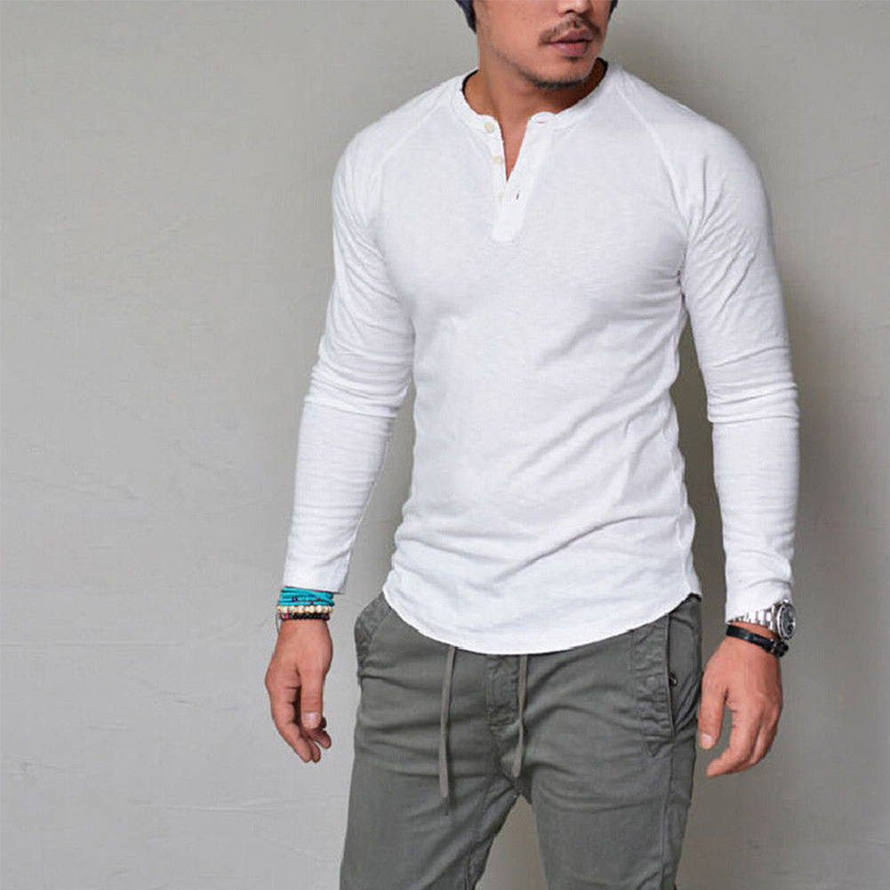 Men-039-s-Slim-Fit-V-Neck-Long-Sleeve-Muscle-Tee-Shirts-Casual-T-shirt-Tops-Blouse thumbnail 13