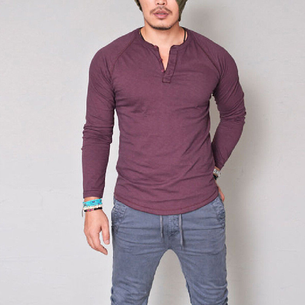 Men-039-s-Slim-Fit-V-Neck-Long-Sleeve-Muscle-Tee-Shirts-Casual-T-shirt-Tops-Blouse thumbnail 14
